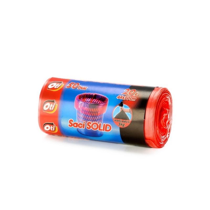 Saci menaj SOLID 20 l., rosu, 44x50 cm., 50 buc pe rola