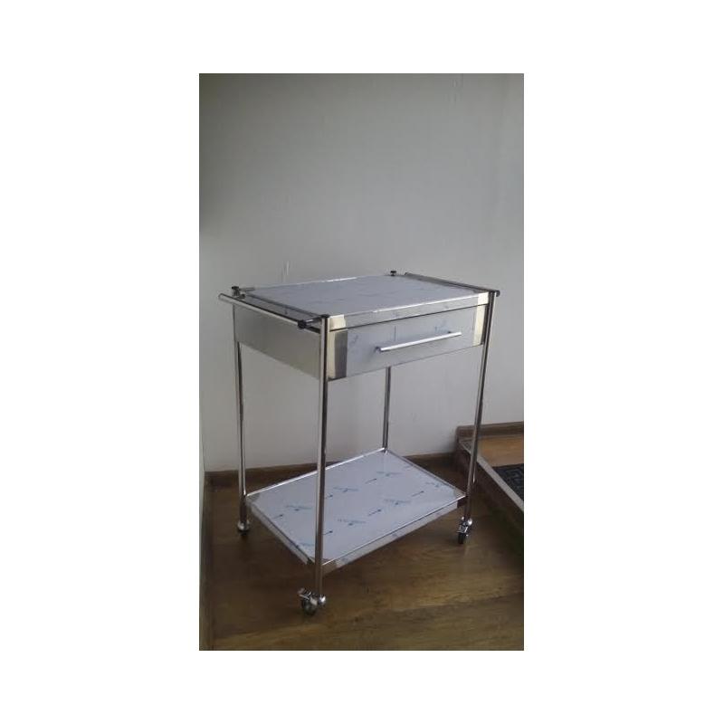 Masa instrumentar tratament inox cu sertar si 2 blaturi