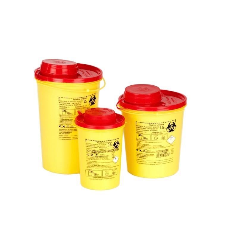 Recipient plastic pentru deseuri intepatoare taietoare - 12 litri