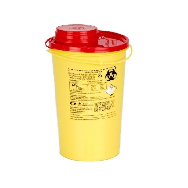 Recipient plastic pentru deseuri intepatoare taietoare - 2 litri