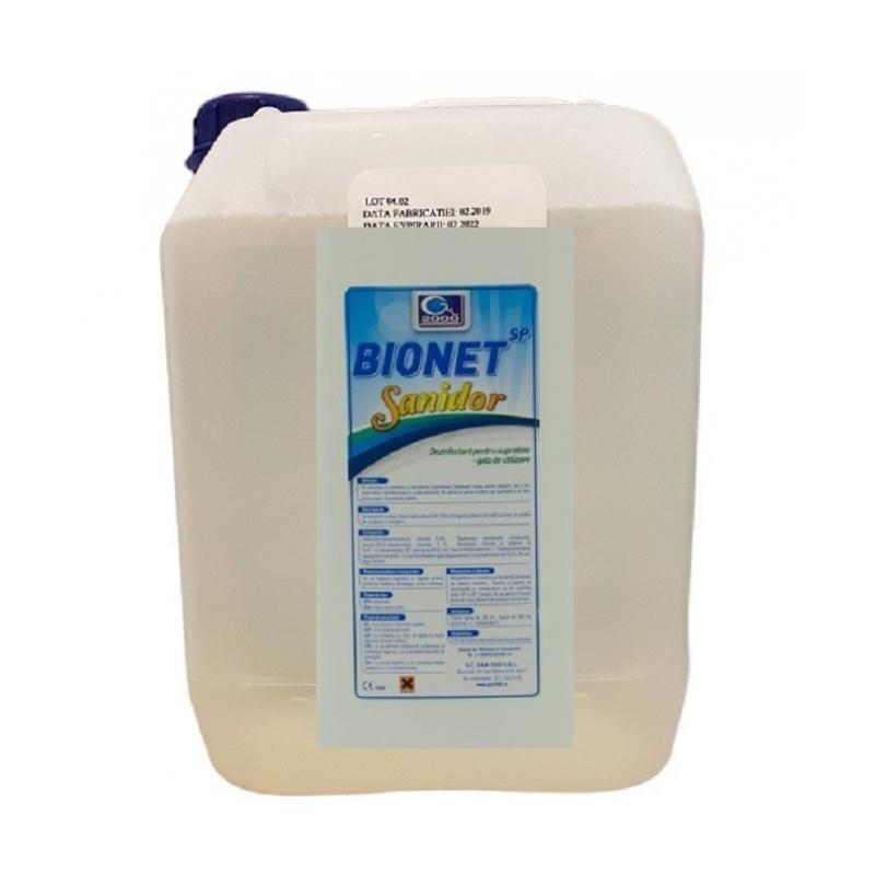 Bionet Sanidor - Dezinfectant de contact gata preparat - 5 litri
