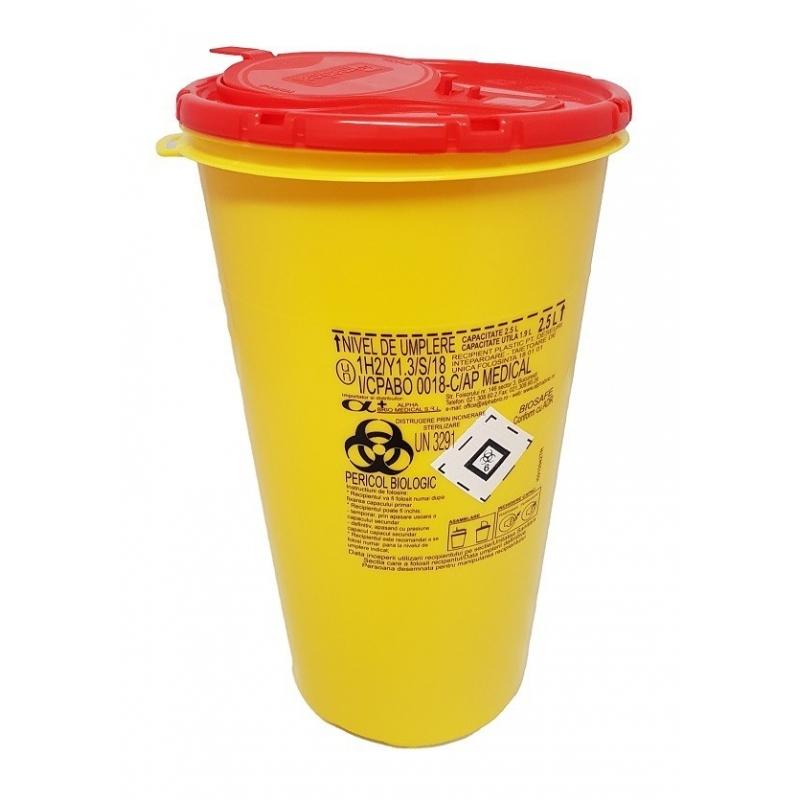 Recipient plastic pentru deseuri intepatoare taietoare - 2,5 litri