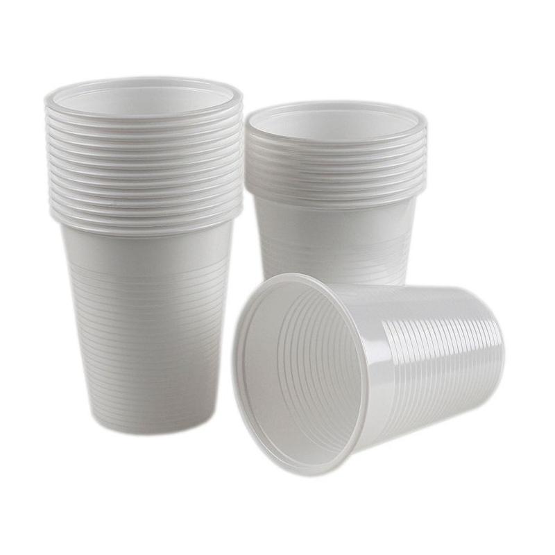 Pahare plastic albe 200 ml - 100 buc
