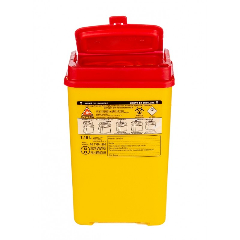 Recipient plastic pentru deseuri intepatoare taietoare - 1.15 litri