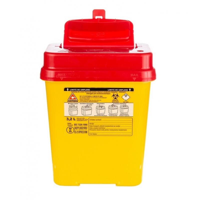 Recipient plastic pentru deseuri intepatoare taietoare - 3.2 litri