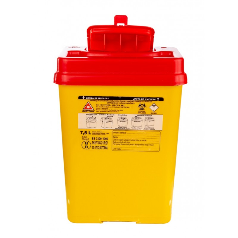 Recipient plastic pentru deseuri intepatoare taietoare - 7.5 litri
