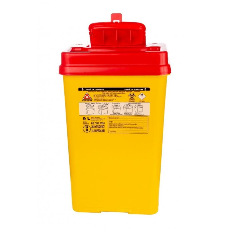 Recipient plastic pentru deseuri intepatoare taietoare - 9 litri