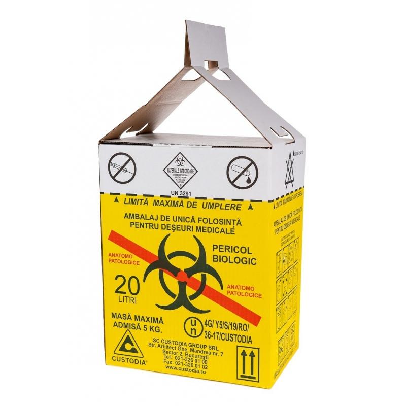 Cutii carton pentru deseuri anatomo 20 l, cu sac galben
